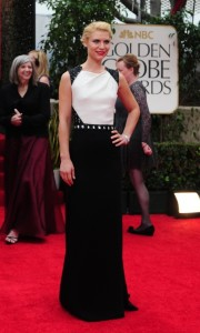Actress Claire Dane In her J. Mendel gown with a dramatic cutout back.