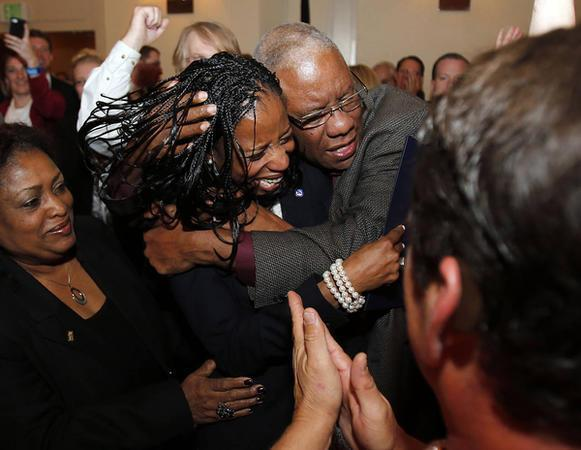 Republican Mia Love celebrates with her supporters after winning the race for Utah's 4th Congressional District during the Utah State GOP election night watch party Tuesday, Nov. 4, 2014, in Salt Lake City. (Rick Bowmer/AP)