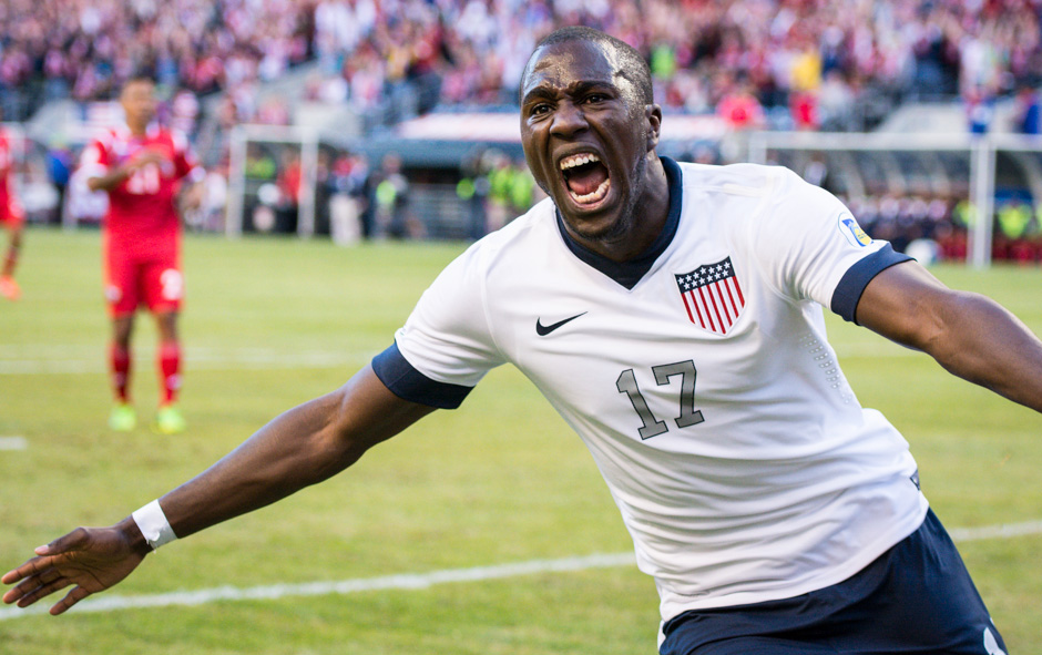 Jozy Altidore celebrates after scoring a goal for the US against Panama in a World Cup Qualifying match at CenturyLink Field in Seattle, Wash. on Tuesday, June 11, 2013. (Photo by Mike Russell | mikerussellfoto.com)