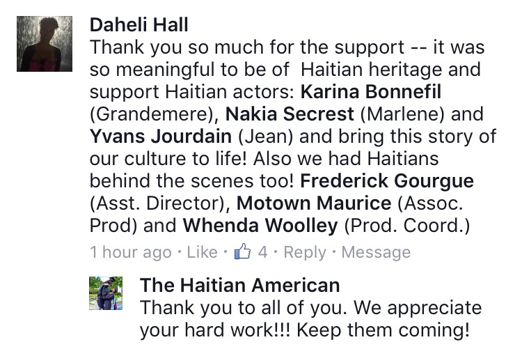 Facebook response from Haitian writer and director Daheli Hall.