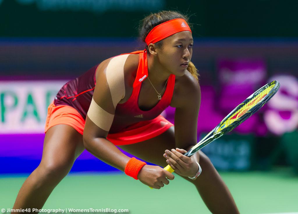 SINGAPORE, SINGAPORE - OCTOBER 25 : Naomi Osaka in action at the WTA Rising Stars Invitational at the 2015 WTA Finals